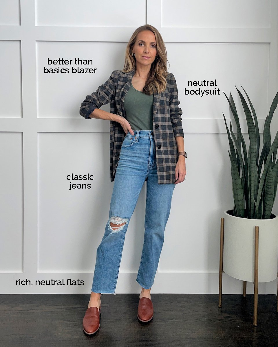 plaid blazer straight leg jeans