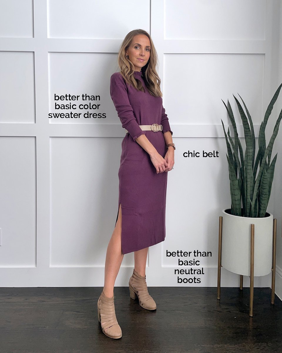 purple dress with belt