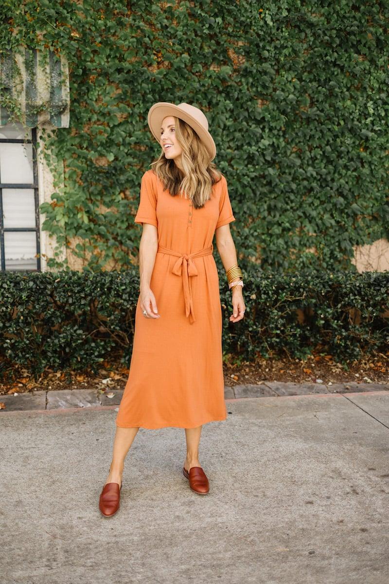 merrick white collection rust dress