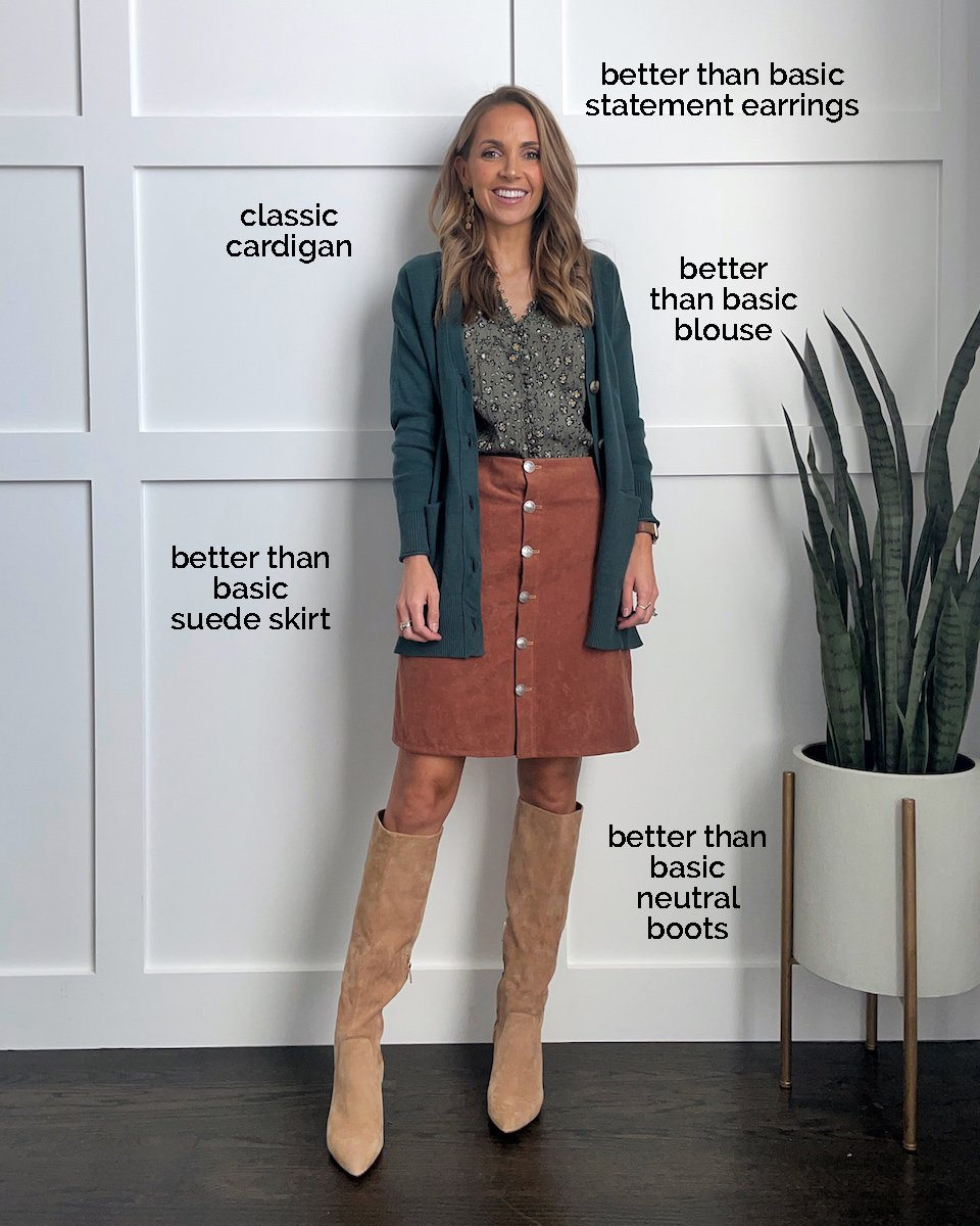 suede skirt knee high boots
