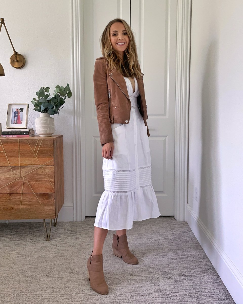 white dress with suede jacket
