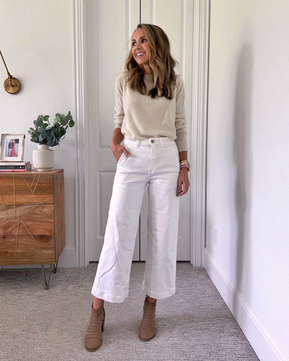white pants with a sweater