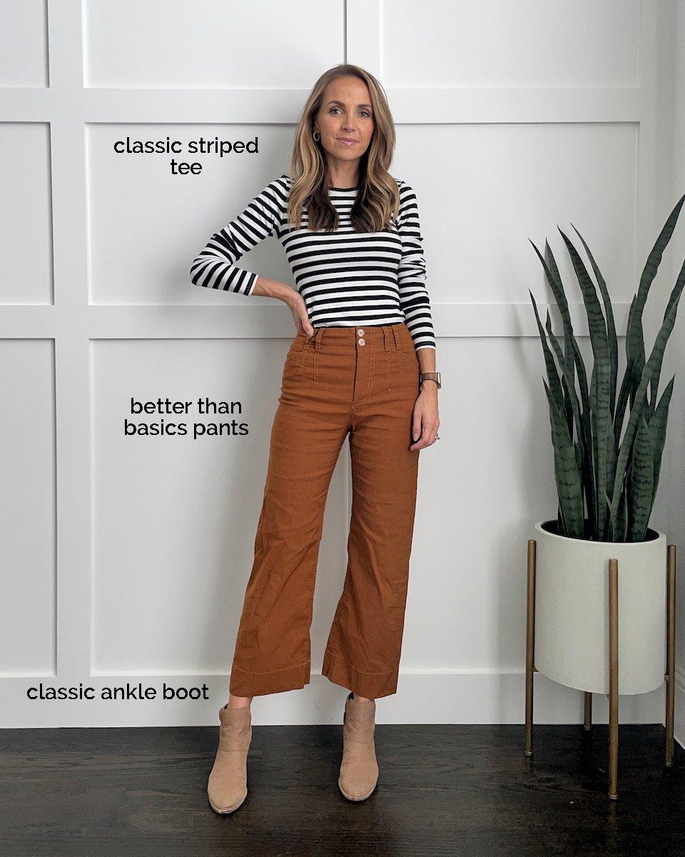 wide leg pants striped tee