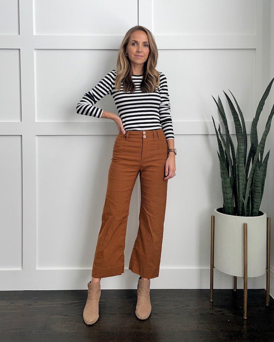 wide leg pants striped shirt