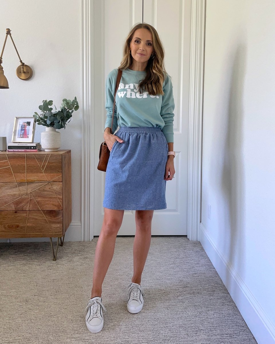 anywhere sweatshirt with chambray skirt