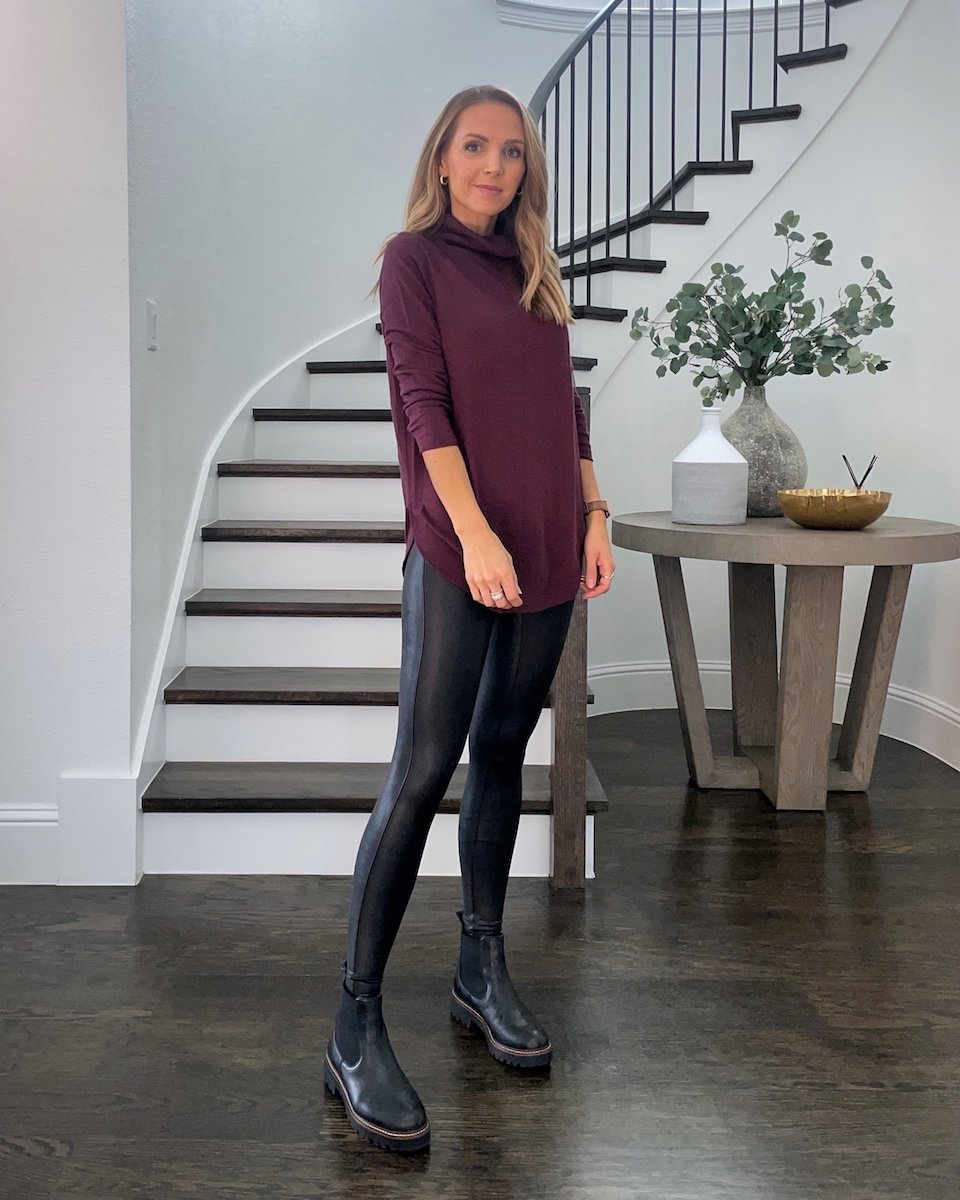 leather leggings with long sweater