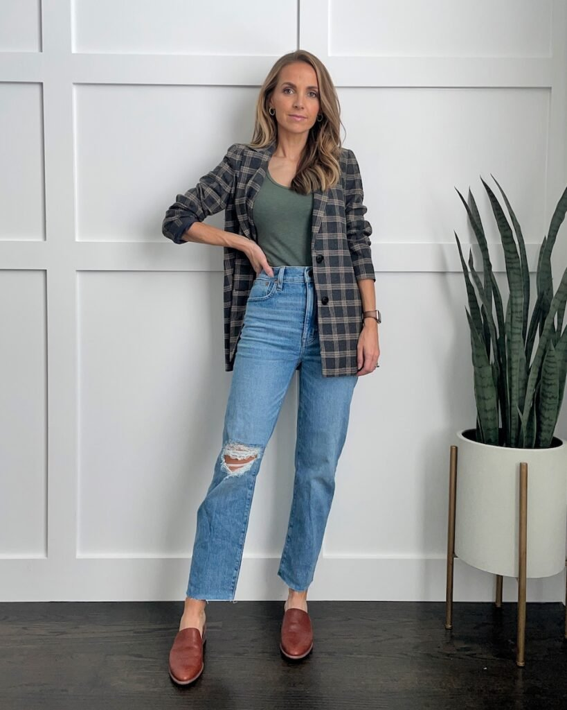 madewell straight leg jeans blazers for fall
