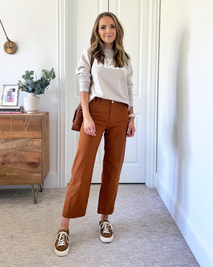 sneakers and wide leg pants