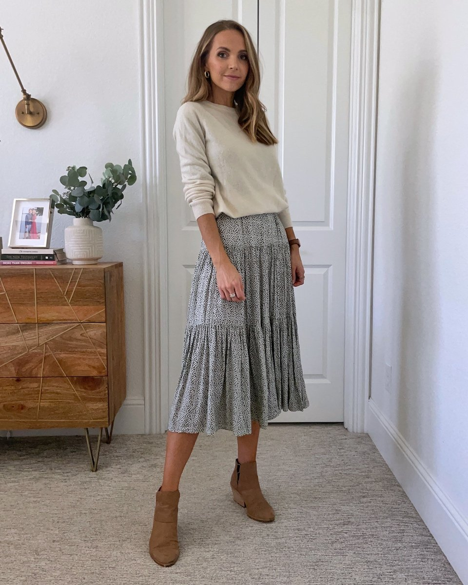 sweater belted over dress
