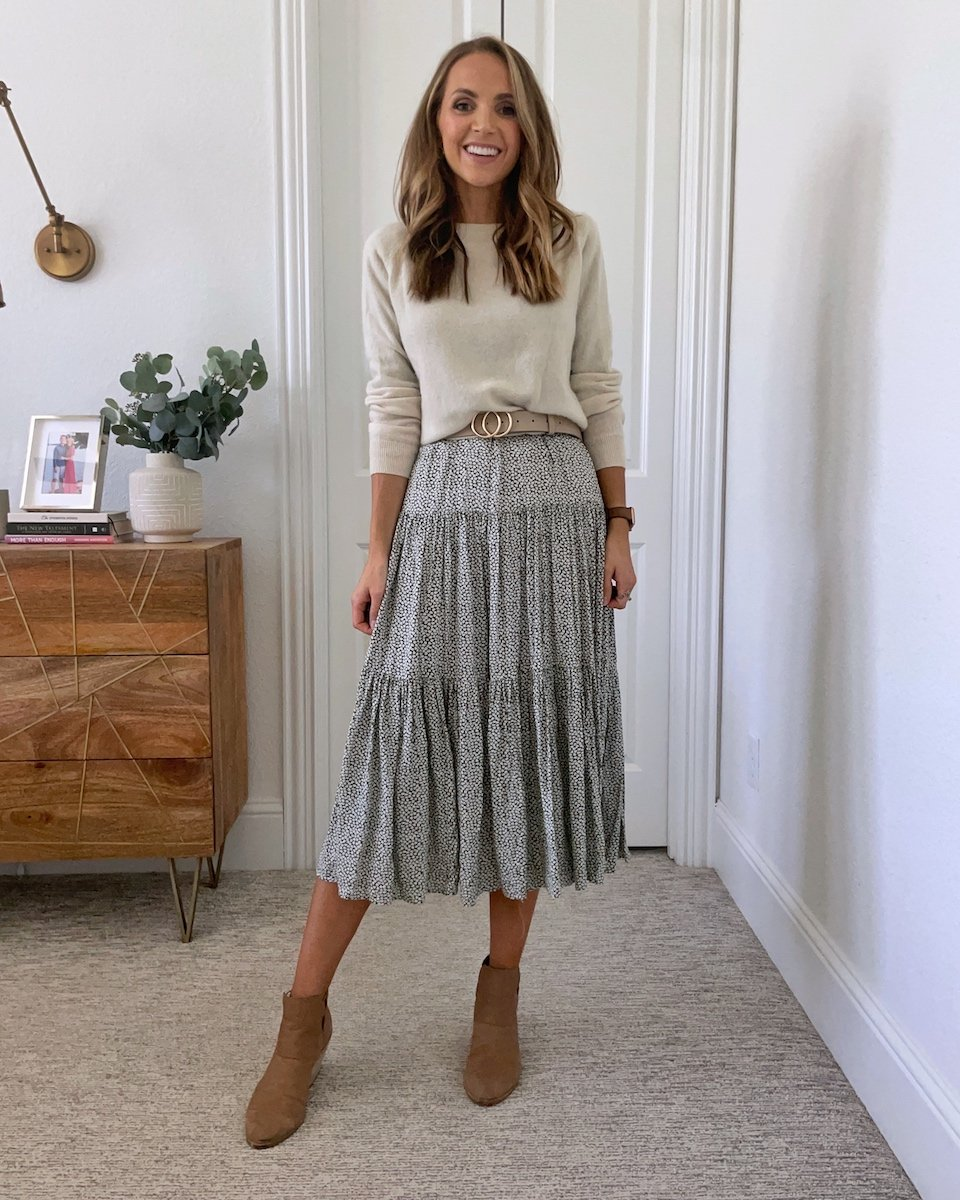 sweater belted over midi dress