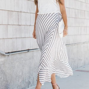 Dressed Up/Dressed Down: Striped Wrap Maxi Skirt