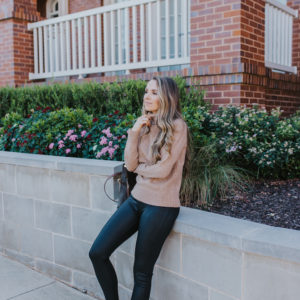 A Faux Leather Leggings Outfit and The Prettiest Dress for Fall from Marks & Spencer