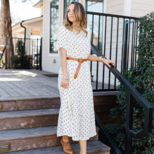 free assembly white dress with black heart polka dots