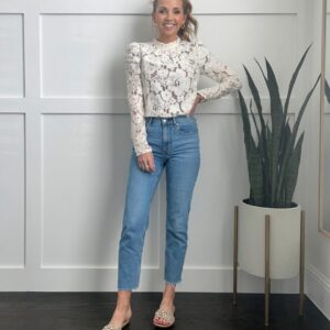 white lace shirt with light wash jeans