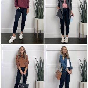 outfits with black joggers